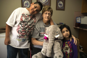 Grandkids and Elephant